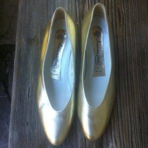 Gold Ballerina's Gr.6,5  super, echt Leder