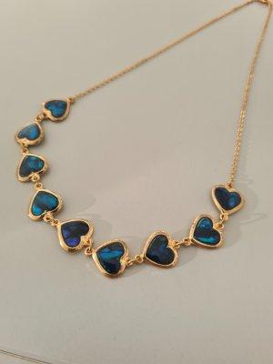 Vintage Naszyjnik złoto-niebieski