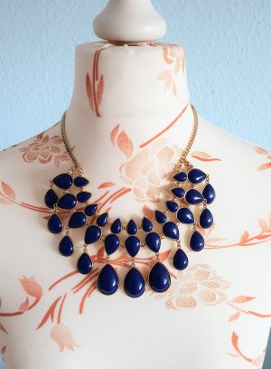 H&M Statement Necklace gold-colored-blue