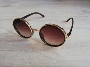 Gold-Braun Sonnenbrille mit Glitter