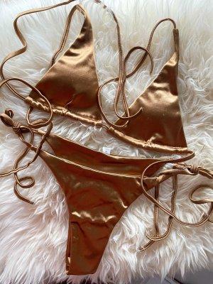 Gold/Bronze Satin Bikini mit Schnüren Größe M, Neu