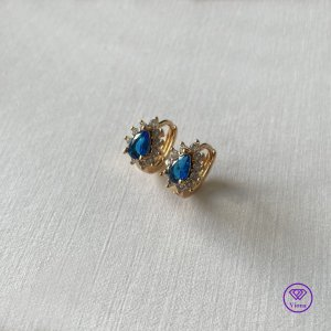 Earclip gold-colored-neon blue