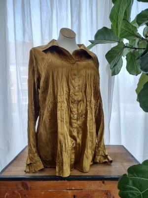Bexleys Glanzende blouse goud-zandig bruin