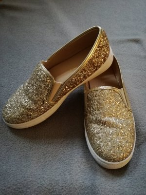 Gold Glitzer Slip-Ons / Sneaker / Slipper