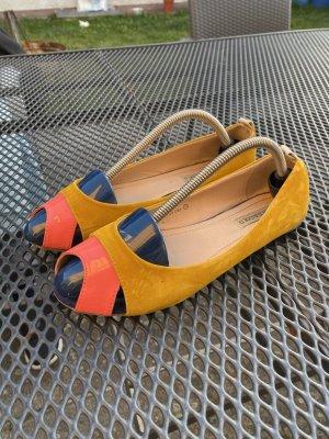 Gold & Gold Peep Toe Ballerinas yellow-cornflower blue leather