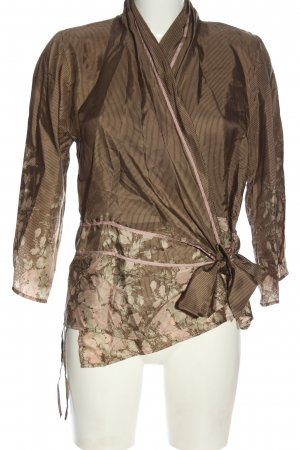 Gold Hawk Blusa in seta marrone-crema motivo floreale elegante