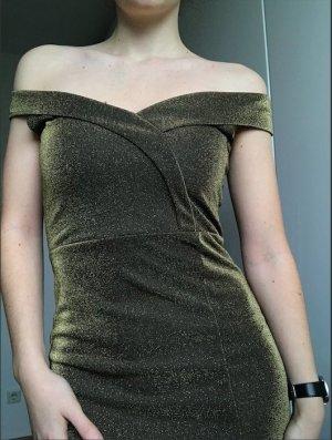 Gold Off the Shoulder Elegant Kleid NEU