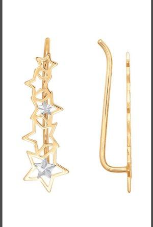 Gold Ohrringe 585 Cuff Climber Sterne neu