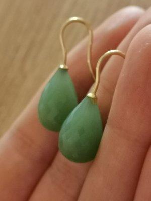 Pendientes de oro color oro-verde claro
