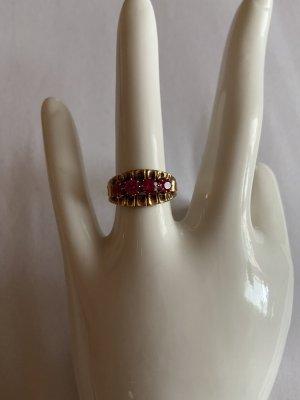 Złoty pierścionek złoto-malina