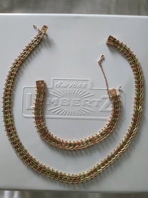 Gold russische 585 583 Embrace Tricolor Trinity Halskette Armband massiv