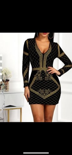 Active USA Evening Dress black-gold-colored