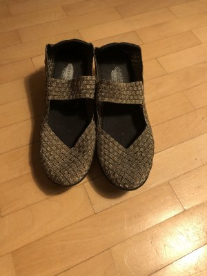 Sandalias con plataforma negro-color bronce