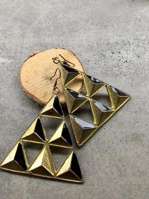 Gold schwarze Geometrie Dreieck hängeohrringe