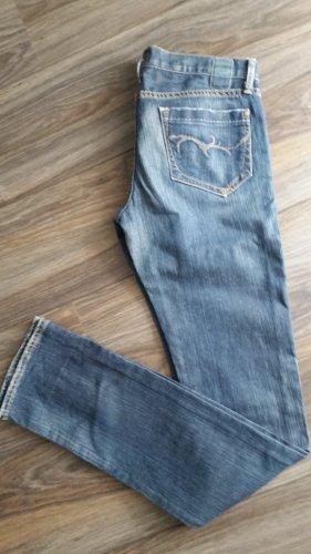 Jeans cigarette bleu foncé coton