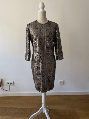 Gold Silber Metallik Kleid von Set in 40