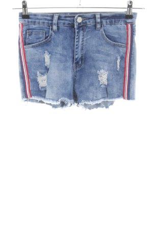 Short en jean bleu motif rayé style décontracté