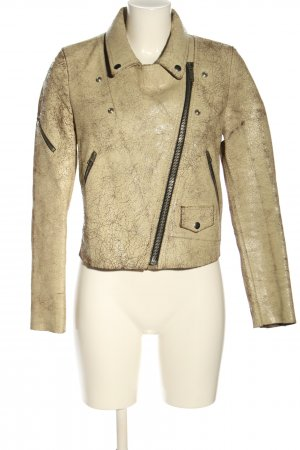 Golden Goose Giacca in pelle bianco sporco puntinato stile casual