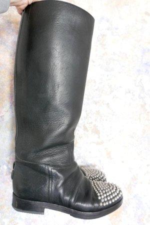 Golden Goose Botte de moto noir cuir