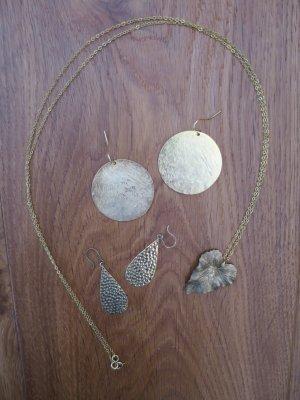 Pendientes de oro marrón arena metal