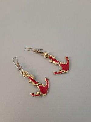 Vintage Boucle d'oreille incrustée de pierres doré-rouge