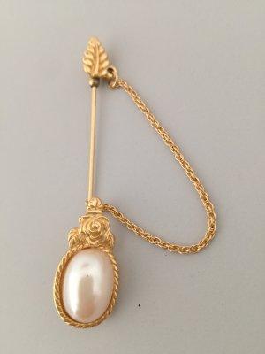 goldene Anstecknadel mit Perle vintage