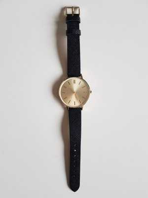 Reserved Reloj con pulsera de cuero negro-color oro