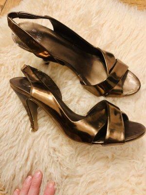 Sandalias de tacón alto color oro-color bronce