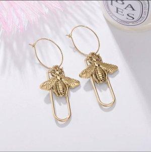 Goldene Bienen Ohrringe creolen hängend
