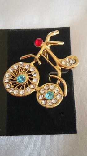 Goldene Brosche mit Zirkonia Steine