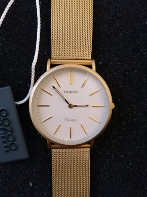 Oozoo Watch With Metal Strap white-gold-colored