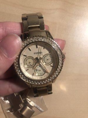Fossil Reloj con pulsera metálica color oro-color plata