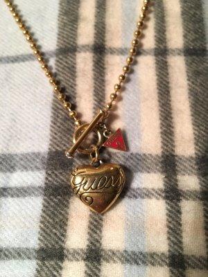Goldene Guess Herz Anhänger Kette Gold Logo