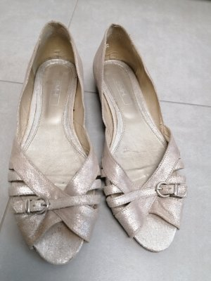 smh shoes Peep Toe Ballerinas gold-colored