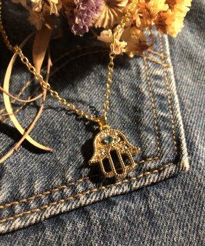 Goldene Hamsa HalsKette / Hand der Fatima vintage Kette