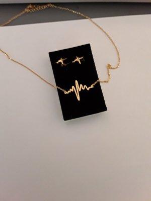 Goldene Herzschlag Kette mit Ohrringen