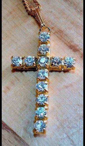 goldene Kette mit Kreuz Anhänger