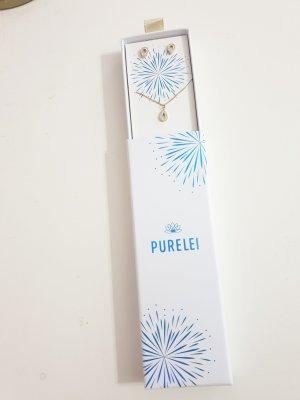 goldene Kette mit passenden Ohrringen von Purelei