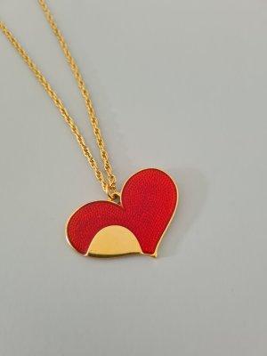 goldene Kordelkette mit rotem Herzanhänger vintage