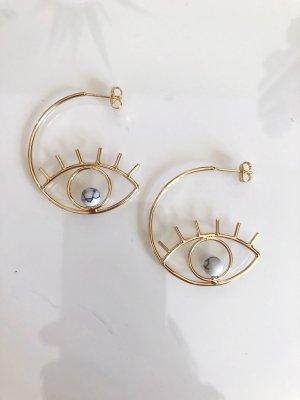 Goldene Kreolen Ohrringe Ohrstecker Marmor Perlen