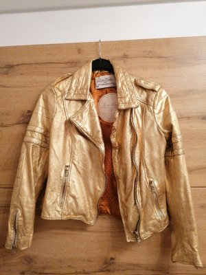 Zara Faux Leather Jacket gold-colored