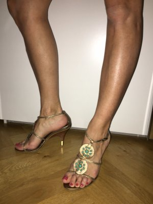 Sandalias de tiras color oro-azul claro Cuero