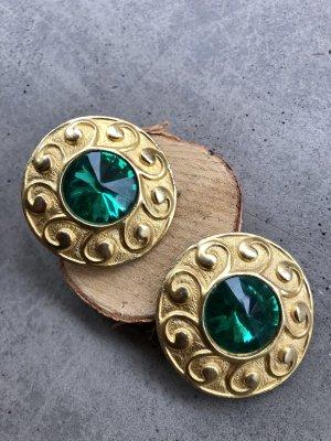 Vintage Clip d'oreille vert menthe-doré