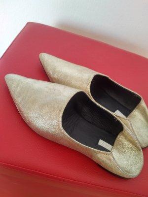 Goldene Mules, echt Leder Pantoletten