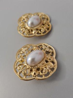 Vintage Clip d'oreille doré-blanc