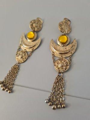 Vintage Clip d'oreille doré-orange clair