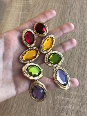 Goldene Ohrringe gold Grün Ohrschmuck Statement Ohrringe Schmuck Kristalle Chanel YSL Style Abendschmuck