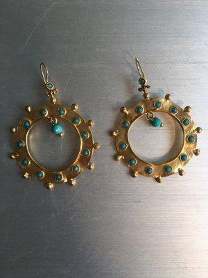 Boucles d'oreille en or doré-turquoise
