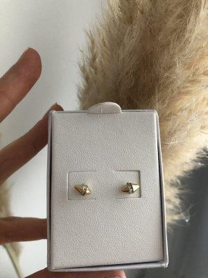 Goldene Ohrstecker mit Kristallen, NEU