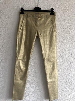 Escada Pantalon en cuir doré